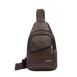 Haluoo Leather Sling Bags for Men Crossbody Backpack Multifuctional Small Shoulder Pack Sling Ch ...