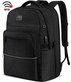 WhiteFang 17.3 Inch Laptop Backpack,TSA Friendly Business Travel Laptop Backpack with USB Chargi ...