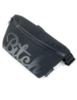 FYDELITY Fanny Pack Waist Belt Bag Ultra-Slim -Bitch Meme Black & Black