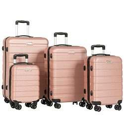 Murtisol 4 Pieces ABS Luggage Sets TSA Lightweight Durable Spinner Suitcase Aluminum Retractable ...