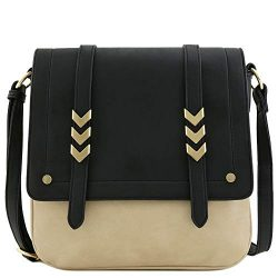 Double Compartment Large Two-Tone Colorblock Flapover Crossbody Bag Black/Dusty Beige