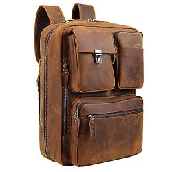 Tiding Leather 15.6 Inch Laptop Backpack Convertible Briefcases Messenger Bag Shoulder Bag Busin ...