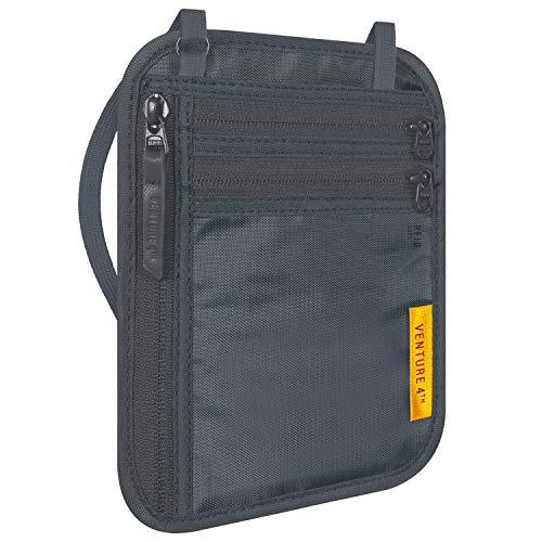 VENTURE 4TH Travel Wallet | RFID Passport Holder | Security Neck Pouch (Gray)