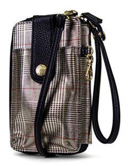 MUNDI Jacqui Vegan Leather RFID Womens Crossbody Cell Phone Purse Holder Wallet (Festive Plaid)