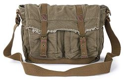 Gootium Canvas Messenger Bag – Vintage Shoulder Bag Frayed Style Satchel, Army Green