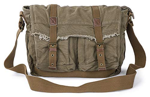 Gootium Canvas Messenger Bag – Vintage Shoulder Bag Frayed Style Satchel, Army Green