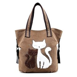 MIFXIN Women Canvas Shoulder Bag, Lovely Cat Bag Casual Handbag Shopping Bag Travel Beach Tote B ...