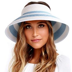 Sun Visor Hats for Women Wide Brim Straw Roll Up Ponytail Summer Beach Hat UV UPF 50 Packable Fo ...