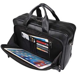 Augus Mens Leather Briefcase Messenger Bag, Waterproof Travel Business Duffle Bags for Men 17 In ...