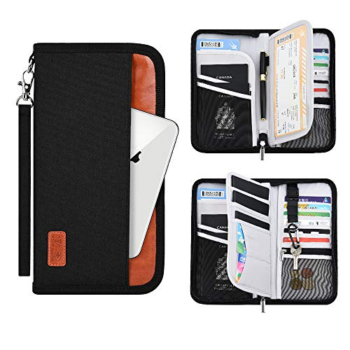 Family Travel Passport Holder Wallet RFID Blocking Document Tickets Organizer with Zipper for Wo ...