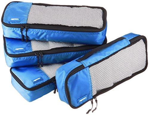 AmazonBasics 4 Piece Packing Travel Organizer Cubes Set – Slim, Blue