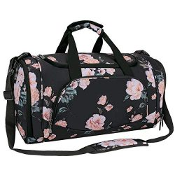 MOSISO Water Resistant Gym Sports Dance Travel Weekender Duffel Bag with Shoe Compartment, Black ...