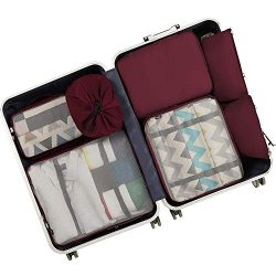 BAGAIL 7-Pcs Lightweight Luggage Packing Organizers Packing Cubes for Travel Accessories Burgundy