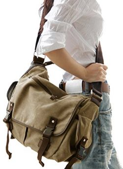 Digital baby Big Vintage Canvas Messenger Bag Book Laptop Shoulder School Ladys Women Men New