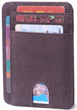 Slim Minimalist Credit Card Holder Front Pocket RFID Blocking Leather Wallets for Men & Wome ...