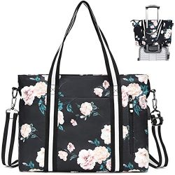 Laptop Shoulder Bag for Women Floral Tote Bag Laptop Briefcase Handbag Work Travel Business Comp ...