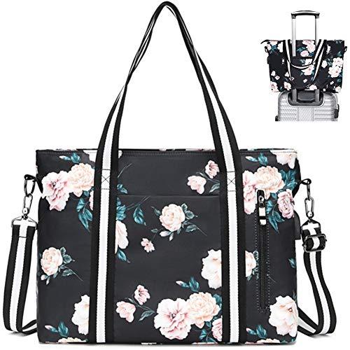 Laptop Shoulder Bag for Women Floral Tote Bag Laptop Briefcase Handbag Work Travel Business Comp ...