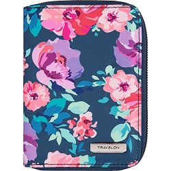 Travelon RFID Blocking Passport Zip Wallet, blossom Floral