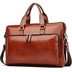 MANTOBRUCE Leather Briefcase Slim 15.6″Laptop Shouler Bag Business Travel Messenger Briefc ...