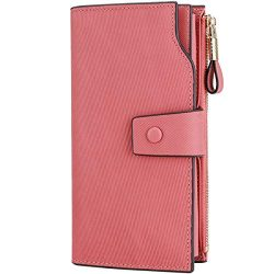 Itslife Women's RFID Blocking Large Capacity Luxury Wax Genuine Leather Clutch Wallet Card ...