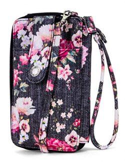 MUNDI Jacqui Vegan Leather RFID Womens Crossbody Cell Phone Purse Holder Wallet (Washed Rose)