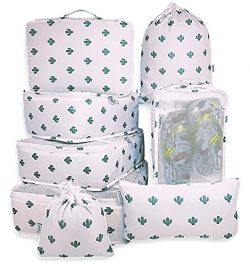 EVEK Packing Cubes Organizers Set for Bag Travel Luggage Cube (White&Cactus)