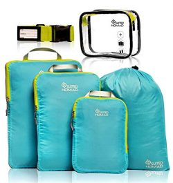 SuitedNomad Compression Packing Cubes Set,Ultralight Travel Organizer Bags (Caribbean Blue, 6Piece)