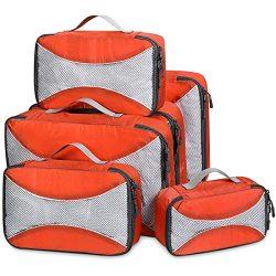 G4Free Packing Cubes 6pcs Set Travel Accessories Organizers Versatile Travel Packing Bags(Orange)