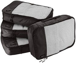 AmazonBasics 4 Piece Packing Travel Organizer Cubes Set – Medium, Black