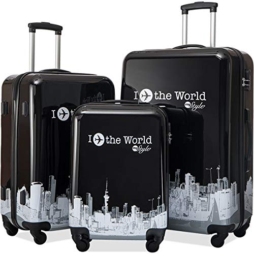 Flieks 3 Piece Luggage Set Hardside Suitcase with Spinner Wheels (Color6)