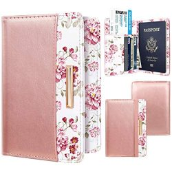 Passport Holder Cover Travel RFID Blocking Passport Cover Cute Slim Passport Wallet with Elastic ...