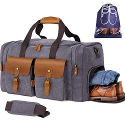 Flipzon Duffle Bag for Men Women Canvas Genuine Leather Large Duffel Bag Overnight Weekender Bag ...