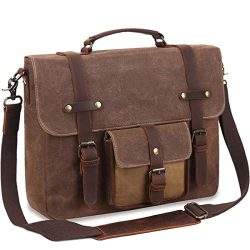 Mens Messenger Bag Laptop Bag 15.6inch,Waterproof Genuine Leather Waxed Canvas Retro Computer Sh ...