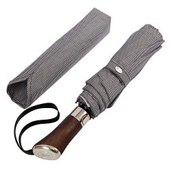 (Designed in UK) Balios Travel Umbrella | Luxurious Golden Rosewood Handle | Auto Open & Clo ...
