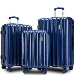 Merax 3 Piece Luggage Set with TSA Lock and Dual Spinner Wheels, Hardshell Lightweight Suitcase  ...