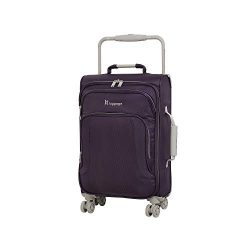 IT Luggage 22″ World's Lightest 8 Wheel Spinner, Purple Pennant With Cobblestone Trim