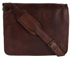 13″ Inch Men's Hand-Crafted Messenger Genuine Leather Briefcase Satchel Laptop Shoul ...