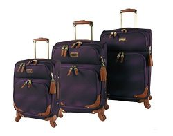 Steve Madden Luggage 3 Piece Softside Spinner Suitcase Set Collection (One Size, Shadow Purple)