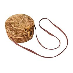 Women Cute Circle Handwoven Round Retro Rattan Straw Beach Bag Crossbody