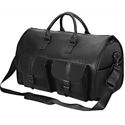Carry On Garment Bag, Waterproof Mens Garment Bag for Travel Business, Large Leather Duffel Bag  ...