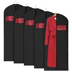 Univivi Lightweight Garment Bags for Storage (5 Pack 60 inch) Washable Suit Cover for Dresses,Wi ...