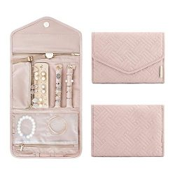 bagsmart Travel Jewelry Organizer Roll Foldable Jewelry Case for Journey-Rings, Necklaces, Brace ...