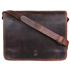 Rustic Town Handmade Genuine Leather 15 inch Vintage Crossbody Laptop Messenger Bag
