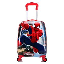 MOREFUN 18 Inch Carry on Kids Luggage Hard Side Spinner Suitcase Lightweight Wheels (spiderman)