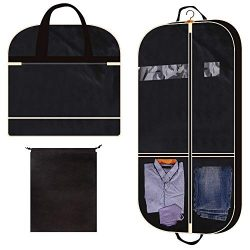 43″ Gusseted Garment Bag with 2 Large Mesh Pockets Travel Storage for Clothes Shirts Dress ...