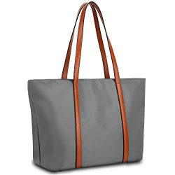 YALUXE Tote for Women Leather Nylon Shoulder Bag Women's Oxford Nylon Large Capacity Work  ...