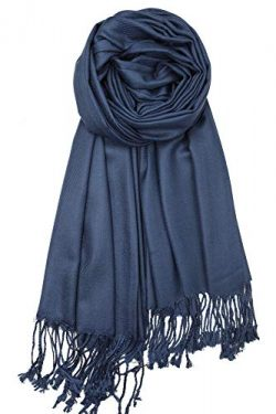 Achillea Large Soft Silky Pashmina Shawl Wrap Scarf in Solid Colors (Navy)