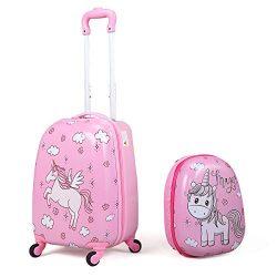 JAXPETY 2Pc 12″ 16″ Kids Carry On Luggage Set Upright Hard Side Hard Shell Suitcase  ...