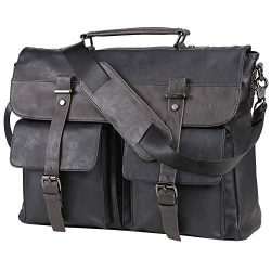Leather Messenger Bag for Men, Vintage Leather Laptop Bag Briefcase Satchel, 15.6 Inch Computer  ...