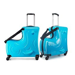 The latest children's suitcase,Trojan horse suitcase ,Unisex Travel Tots Kids trunk (blu ...